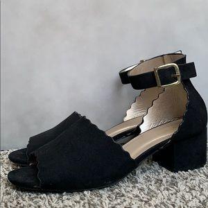 Suede Black Heel